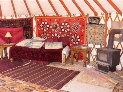 Yurt interior with traditional decoration.
