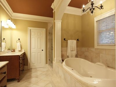 Master Bath features whirlpool tub and multi-jet shower