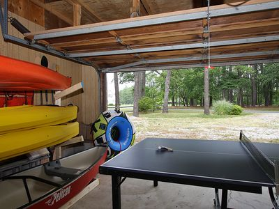 Play Area in Garage Plus Watercraft for Guests