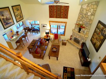 Steamboat Springs condo rental - View of Living room and fireplace from top floor