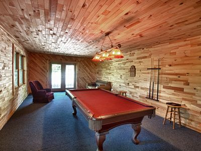 Game Room with Pool Table and Two Sleeper Sofas.