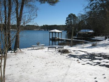 Another beautiful view of Lake Hawkins after a rare snow in East Texas.