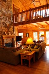 Blowing Rock cabin photo - Living room & loft view