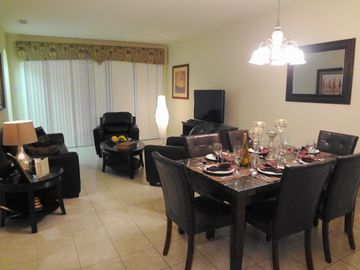 Living and Dining Room with 42in HDTV