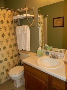 Beach themed master bathroom.