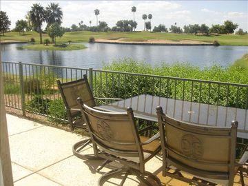 Mesa condo rental - View from patio overlooking Superstition Lake