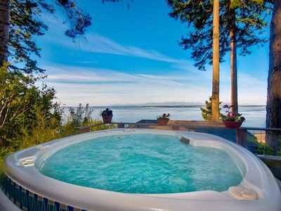Olympic Hot Springs spa with 180 degree view of Admiralty Inlet and the Olympics