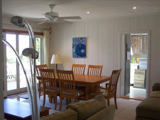 Stone Harbor property rental photo - New Dining Rm Furniture- Bayfront Deck, Large Kitchen wih Bay View