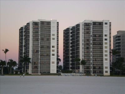 Island Winds Condominiums from the beach.
