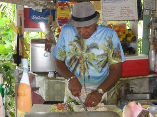 Long Island cottage photo - Gary @ Max's conch bar making his famous conch salad.