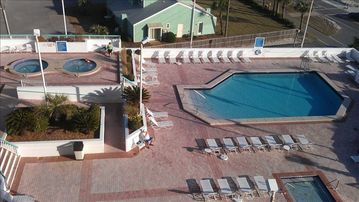 View of Pool and hot tubs from balcony