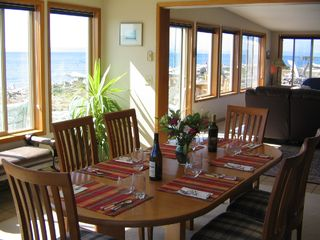 Coupeville house photo - Dining Room, seats 8 to 12 (with pullout leaf). View of ocean beachside.