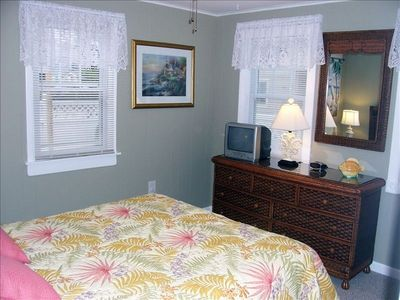 BEDROOM #1 {MASTER} INCLUDES: QUEEN BED WITH CEILING FAN & TV WITH DVD...