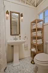 West Hollywood villa photo - poolhouse bathroom, shower, marble floors