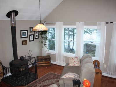 Ellsworth house rental - Sit by the fire place in the morning & enjoy your coffee