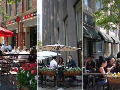 great outdoor patios on king east, 2 minutes walk...see patio guide on blogto