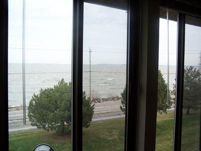 Port Clinton condo rental - View out the sunroom window...waves on Lake Erie