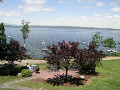 Gilford condo rental - View of Lake Winnipesaukee and Samoset patio from the pool area.