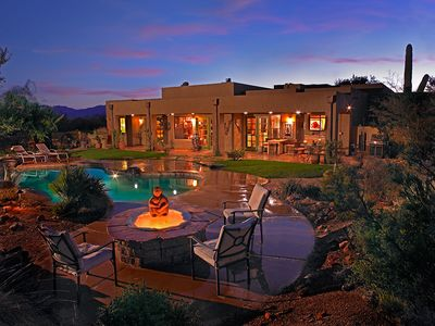 Looking across the fire pit and pool toward the Tucson Mountains