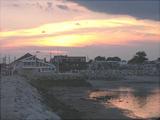Saco house photo - Sunset from jetty looking back toward land