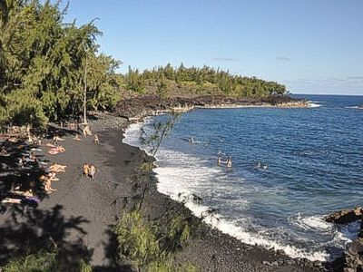 The clothing optional Kehena Black Sands Beach... only 20 minutes away.