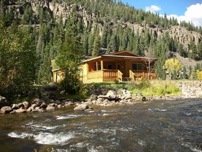 View from Rio Grande River. Rio Grande is 50 ft from deck and private hot tub.
