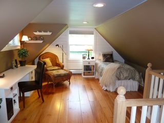 Fryeburg cottage photo - Loft with comfortable twin bed, reading chair, and desk.