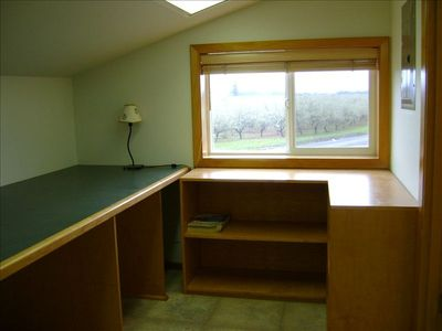 Study Room with built-in desk, upstairs w/country views