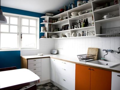 Reykjavik apartment rental - The new kitchen. Sunny windows. Seats 4 plus a child. Spices, oils, etc.