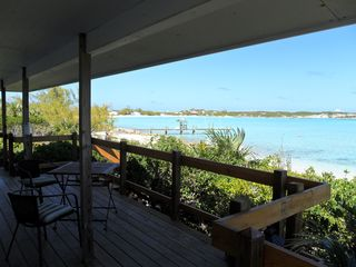 Staniel Cay cottage photo - Looking north from the deck with the dock shown.