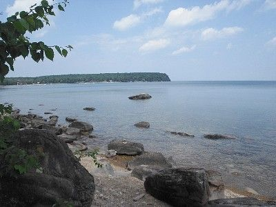 Rock beach in front of cottage