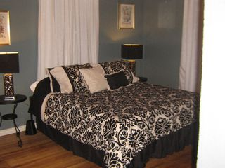 San Antonio cottage photo - The serene bedroom has a view of ancient oak trees.