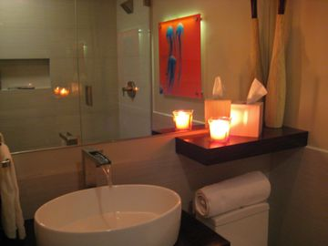 The recently remodeled Guest Bath & walk-in shower has a great spa-like feel!