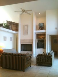 Living Room and entertainment center & fireplace