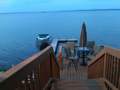 Plattsburgh cottage rental - Steps down to the water and docks