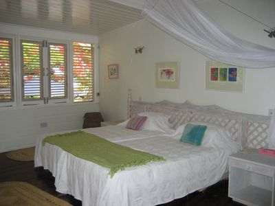 Cap Estate villa rental - BEDROOM ONE WITH TWIN BEDS THAT CAN BE MADE INTO A KING SIZE BED