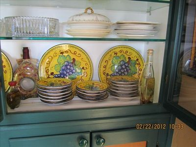 Italian Dishware in Kitchen Cabinet