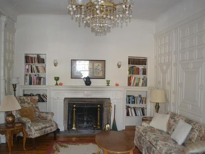 Great Barrington house rental - Living room & fireplace