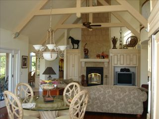 Windsor house photo - Family Room with wood burning fireplace and surround sound