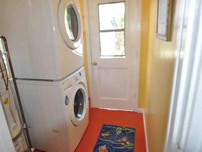 Doing the laundry is fun! New appliances, and just outside is your private patio
