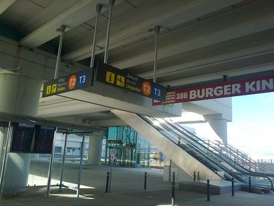 easy access to T2 & T3 - directly after exiting train station