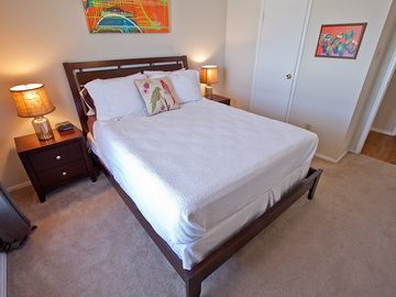 Guest bedroom has cozy queen pillowtop mattress, high end linens walk in closet.
