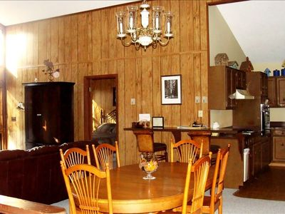 Beech Mountain chalet rental - Kitchen/dining area opens to grt rm with cathedral ceiling, now freshly painted