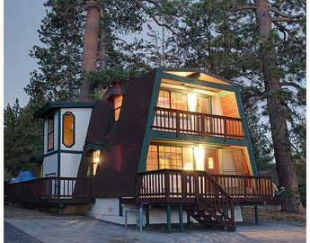 Big Bear Lake cabin rental - Kanodia Lake View at sunset. Cozy, warm and inviting!