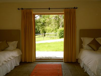 Large Twin room with views over patio and fields