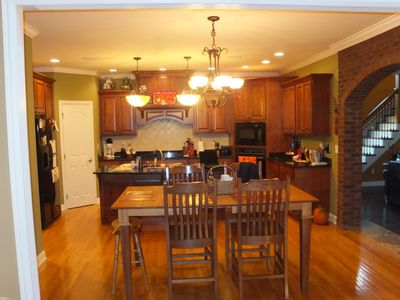 Kitchen, with granite counter tops, hardwood floors
