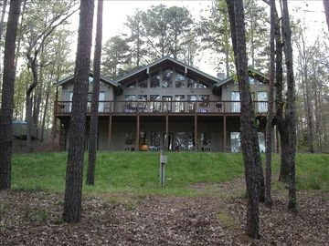 Greers Ferry Lake house rental - Lakeside of the house, view from path