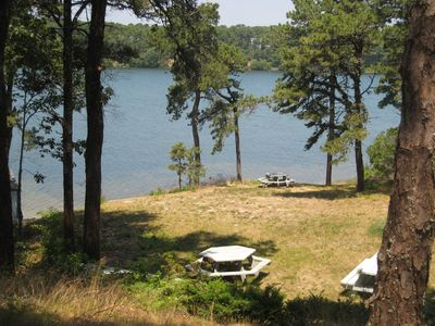 View of lake, picnic area and beach
