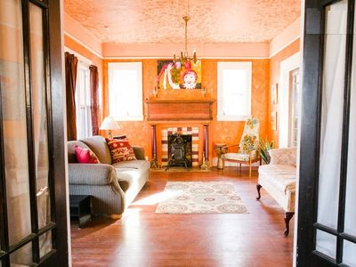 Looking through the French doors to the living room from Bedroom #1