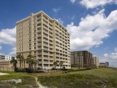 Jacksonville Beach condo rental - View of our building from the walkover stairs that go to the beach
